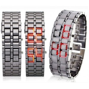 Pánské lávové LED kovové náramkové hodinky - 4 varianty