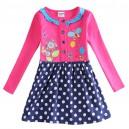 Dětské dívčí tričko, tunika s dlouhým rukávem s puntíky