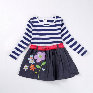 Dětské dívčí šaty, tunika s dlouhým rukávem a džinovou sukní