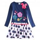 Dětské dívčí šaty, tunika s dlouhým rukávem modrá s puntíky a kytičkami