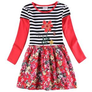 Dětské dívčí šaty, tunika s dlouhým rukávem červená s kytkami