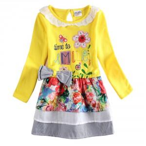 Dětské dívčí šaty, tunika s dlouhým rukávem žlutá s květy