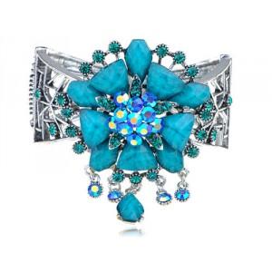 Luxusní masivní stříbrný, dámský náramek, tyrkysový krystal