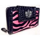 Módní dámská peněženka Lydc London motiv zebra - růžová