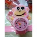 Dětské silikonové, navíjecí SLAP hodinky - opička růžová