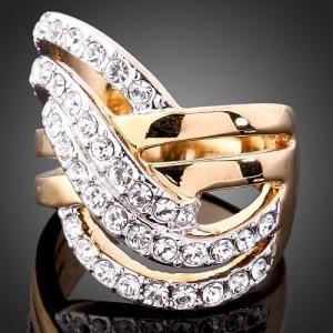 Luxusní prsten, žluté zlato, bílý Swarovski krystal J1935