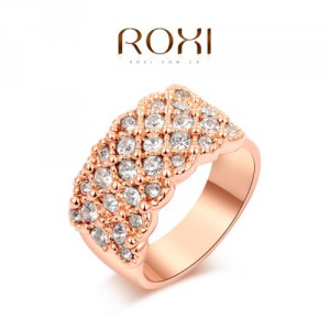 Luxusní dámský prsten růžové zlato s krystaly