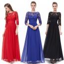 Elegantní společenské šaty s krajkou a rukávky 8412 - červené, modré, černé