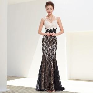 Krajkové dámské dlouhé společenské šaty černobílé - 8535