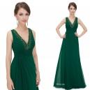Okouzlující dámské šaty s kamínky v dekoltu 8103 - lahvově zelené