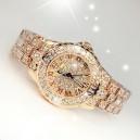Luxusní zlaté dámské hodinky osázené krystaly v boxu