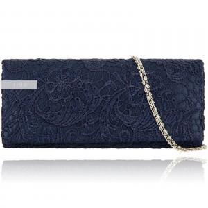 Luxusní dámská společenská krajková kabelka - modrá navy