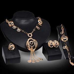 Luxusní dámský zlatý set - náhrdelník, náušnice, náramek, prsten s krystaly A