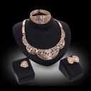 Luxusní dámský zlatý set - náhrdelník, náušnice, náramek, prsten s krystaly E