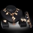 Luxusní dámský zlatý set - náhrdelník, náušnice, náramek, prsten s krystaly F
