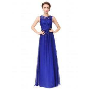 Noblesní dámské dlouhé večerní šaty s krajkou 8904 - safírově modré