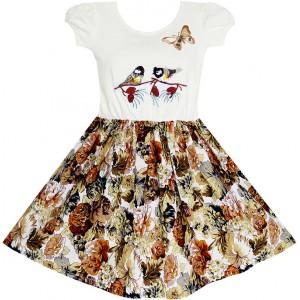 Dětské, dívčí letní šaty bílo hnědé s ptáčky a potiskem