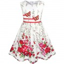 Dětské, dívčí letní šaty bílé s červenými květy a motýlky