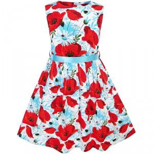 Dětské, dívčí letní šaty s potiskem vlčí mák