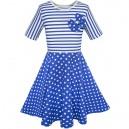 Dětské, dívčí letní šaty bílo modré s puntíky a s mašlí