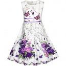 Dětské, dívčí letní šaty bílé s fialovými květy a motýlky