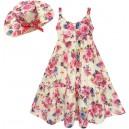 Dětské, dívčí letní květinové šaty s kloboučkem