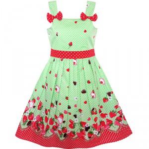 Dětské, dívčí letní šaty zelené s jahodami