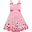 Dětské, dívčí letní šaty růžové s panenkami