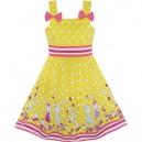 Dětské, dívčí letní šaty žluté s panenkami