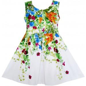 Dětské, dívčí letní šaty bílé s květinami