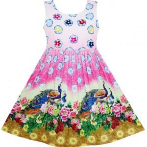 Dětské, dívčí letní šaty barevné s pávem a perličkami