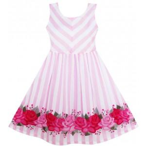 Dívčí letní šaty růžové s proužky a růžemi