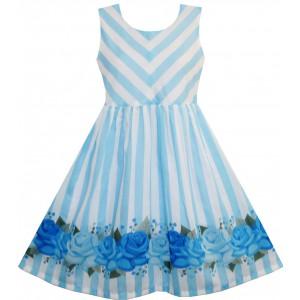 Dívčí letní šaty modré s proužky a růžemi