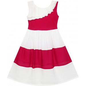 Dívčí letní šaty bílo - červené šaty s kontrastem