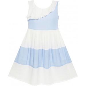 Dívčí letní šaty bílo - modré šaty s kontrastem
