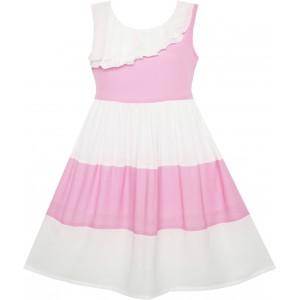 Dívčí letní šaty bílo - růžové šaty s kontrastem