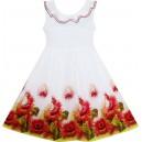 Dětské, dívčí šaty bílé s potiskem červených květin