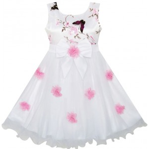 Dětské, dívčí společenské šaty, šaty pro družičku - bílé s potiskem