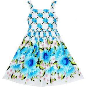 Dětské, dívčí letní šaty bílé s modrými květy