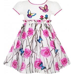 Dětské, dívčí letní šaty bílé s růžovými květy a motýlky