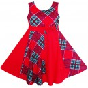 Dívčí letní šaty červené s potiskem a mašlí