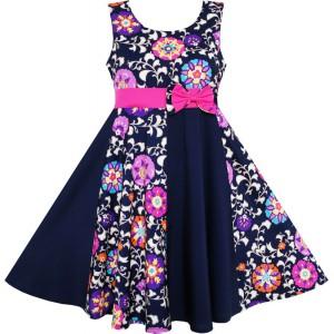 Dívčí letní šaty tmavě modré s potiskem a mašlí