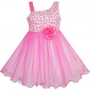 Dětské, dívčí slavnostní šaty růžové s 3D květinou