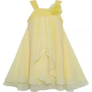 Dětské, dívčí slavnostní šaty s volánky - žluté