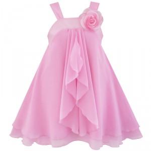 Dětské, dívčí slavnostní šaty s volánky - jemně růžové