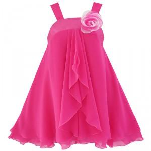 Dětské, dívčí slavnostní šaty s volánky - sytě růžové