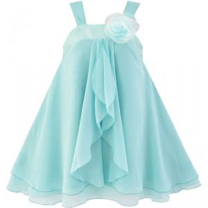 Dětské, dívčí slavnostní šaty s volánky - tyrkysové