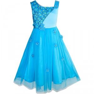 Dětské, dívčí společenské šaty s květinami - modré