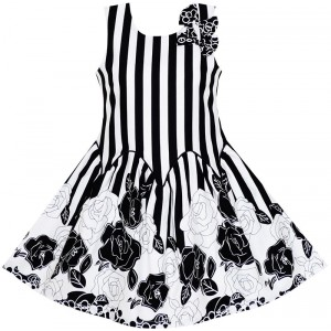 Dívčí letní šaty černobílé s potiskem