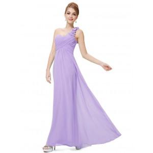 Nebesky jemné společenské šaty Ever Pretty na jedno květinové ramínko 9768 - fialové lila